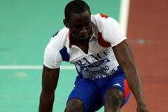Teddy Tamgho of France competing in the Men's Triple Jump Final in Doha in which he leapt to the gold medal and World Indoor record (Getty Images)