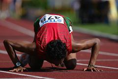 Pedro Daniel Gomez of Mexico celebrates his silver medal in the 10,000m Race Walk final (Getty Images)