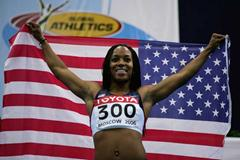 Me'Lisa Barber of USA celebrates her victory in the women's 60m final (Getty Images)