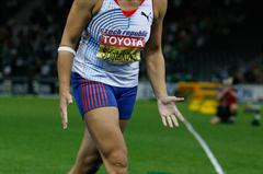 World Record holder Barbora Spotáková of the Czech Republic looks angry with herself following a throw in the women's Javelin Throw final, ultimately she finished second with 66.42m (Getty Images)