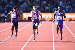 Marvin Bracy (left) on his way to winning the 100m at the 2015 IAAF Diamond League meeting in Birmingham (Jean-Pierre Durand)
