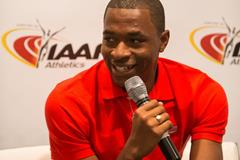 Wilhem Belocian speaks to the press in Monaco (Philippe Fitte / IAAF)