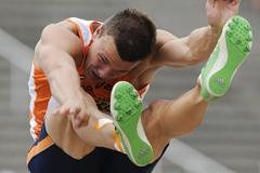 Pieter Braun of Netherlands competes during the Men's Long Jump portion of the Decathlon event on the day one of the 14th IAAF World Junior Championships in Barcelona on 10 July 2012 (Getty Images)