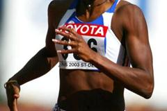 Muriel Hurtis of France sets the best qualifying time in the 200m (Getty Images)