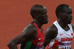 Nixon Kiplimo Chepseba of Kenya and Belal Mansoor Ali of Bahrain competes in the Men's 1500m Final on Day 11 of the London 2012 Olympic Games on 7 August 2012 (Getty Images)