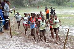 Pauline Korikwiang (red vested, far left of the front trio) running the 8km XC in Machakos, Kenya (Elias Makori)
