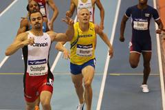 Tyler Christopher of Canada wins the men's 400m from Johan Wissman (Getty Images)
