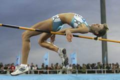 Svetlana Radzivil of Uzbekistan in action in the women's High Jump final (Getty Images)