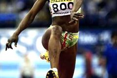 Kene Ndoye jumping to bronze at the World Indoors In Birmingham (Getty Images)