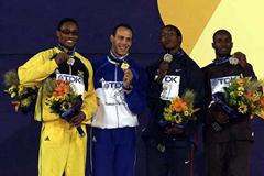Christopher Williams (JAM) with World 400m silver medal (Getty Images)
