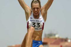 Tatyana Chernova of Russia in action during the Girls' Long Jump in Heptathlon at the World Youth Championships (Getty Images)