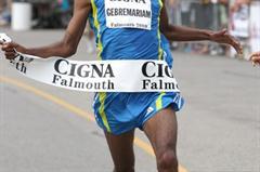 Gebre Gebremariam takes a narrow victory at the Falmouth Road Race (Victah Sailer)