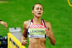 Jessica Ennis crosses the line to win the heptathlon at the 2009 IAAF World Championships in Berlin (Getty Images)
