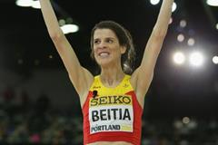 Ruth Beitia after taking silver in the high jump at the IAAF World Indoor Championships Portland 2016 (Getty Images)