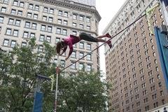 Ekaterini Stefanidi vaulting in Herald Square, New York, ahead of the IAAF / Nestlé Kids' Athletics event on 11 June, 2014 (Victah Sailer / IAAF)