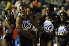 Marion Jones and the Americas 4x100m girls (Getty Images)