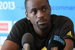 Teddy Tamgho at the press conference ahead of the 2013 IAAF Diamond League final in Brussels (Jean-Pierre Durand)