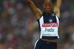 Shara Proctor of Anguilla in flight during the women's Long Jump qualification round in the Berlin Olympic Stadium (Getty Images)