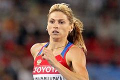 Antonina Krivoshapka of Russia competes in the women's 400 metres heats during day one  (Getty Images)