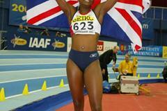 Ashia Hansen (GBR) celebrates winning the women's triple jump (Getty Images)
