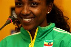 Tirunesh Dibaba of Ethiopia at the World Cross Country Championships press conference (Getty Images)