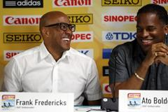 Frankie Fredericks and Ato Boldon at the IAAF/BTC World Relays, Bahamas 2015 press conference (Getty Images)
