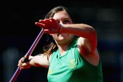 Tazmin Brits of RSA during the Javelin Throw qualification (Getty Images)
