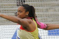 Shanice Craft of Germany won the silver medal on the Women's Discus Throw Final on day six of the 14th IAAF World Junior Championships in Barcelona on 15 July 2012 (Getty Images)