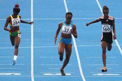 Sheniqua Ferguson of Bahamas wins the Final of the Women's 200m (Getty Images)