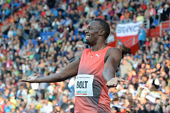 Usain Bolt after winning the 100m in Ostrava 2016 (Getty Images)