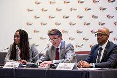 (l-r) Stephanie Hightower, IAAF President Sebastian Coe, Frank Fredericks (Philippe Fitte)