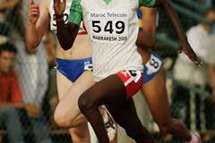 Nawal El Jack of Sudan on her way to victory in the Girls' 400m final (Getty Images)