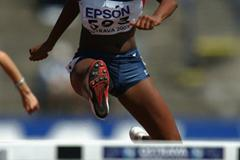 Jasmin Towers of USA during the 100m Hurdles heat (Getty Images)