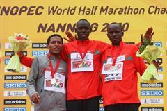The men's podium in Nanning - silver medallist Zersenay Tadese (ERI), winner Wilson Kiprop (KEN) and bronze medallist Sammy Kitwara (KEN) (Getty Images)