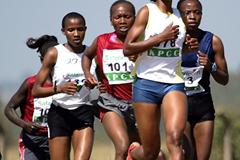 Jane Mwikali leads the women's 8km field at the Kenya Prisons National Cross Country Championships at Ruiru on Saturday. Mwikali won the race (MOHAMMED AMIN/ DAILY NATION)