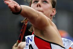 Nikola Orgrodnikova of Czech Republic during the Heptathlon Javelin Throw (Getty Images)