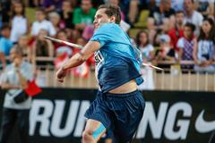 Vitezslav Vesely produces a world-leading throw in the Javelin at the 2013 Monaco Diamond League (Philippe Fitte)