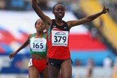 Mercy Cherono of Kenya celebrates winning gold in the Women's 3000m Final (Getty Images)