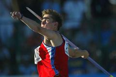 Aleksey Tovarnov of Russia wins the Men's Javelin Final (Getty Images)