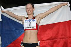 Katerina Cachova of Czech Republic celebrates her victory in the Heptathlon (Getty Images)