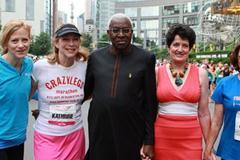 From left: NYRR president and CEO Mary Wittenberg, Mini 10K co-founder Kathrine Switzer, IAAF president Lamine Diack, first winner of the Mini 10K in 1972 Jacqueline Dixon, and Mini 10K co-founder Nina Kuscsik (Courtesy NYRR)