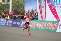 Mare Dibaba en route to winning the 2014 Xiamen International Marathon (Organisers)