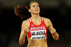 Zuzana Hejnova after winning the 400m hurdles at the IAAF World Championships Beijing 2015 (Getty Images)
