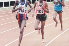 Pauline Korkwang (left) leads Veronica Nyarwai and Beatrice Chepngeno at the Kenyan World Youth Championships trials. Nyarwai won the race. (Omulo Okoth)