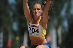 Sweden's Emma Stenlof in the heptathlon long jump at the 2013 World Youth Championships (Getty Images)