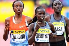 Vivian Cheruiyot takes control in the 5000m in Crystal Palace (Mark Shearman )