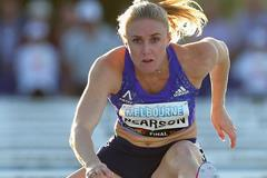 Sally Pearson on her way to a 100m hurdles victory in Melbourne (Getty Images)