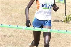 Pauline Korikwiang wins the senior women's 8km race the Sixth Athletics Kenya Cross Country Series meet in Eldoret (Elias Makori)
