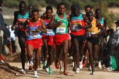 Former champion Zersenay Tadese at the front of the leading pack in the senior mens' race (Getty Images)