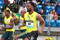Tyson Gay winning over 100m at the 2013 IAAF Diamond League in New York (Victah Sailer)